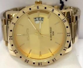 Relógio Masculino Atlantis Dourado Original Calendário