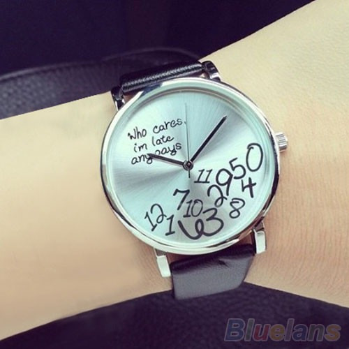 Relógio Casual Pulseira De Couro Who Cares I Am Late Anyways