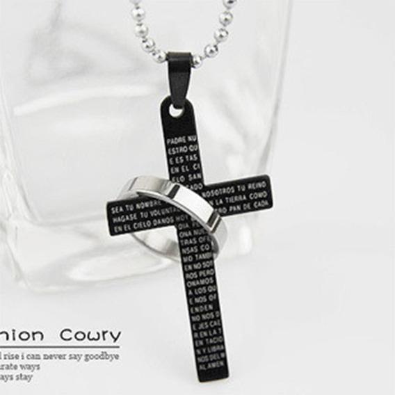 Colar Masculino E Feminino Pingente Cruz Com Oração A634