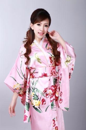 Kimono Japonés Yukata Drees Beautiful Colourful Obi Geisha /