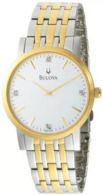 Relógio Masculino Bulova Análogo Slim Com Diamantes Wb21650s