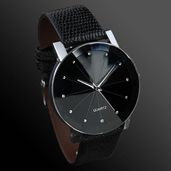Relógio Casual Unissex Stainless Steel Circle Preto