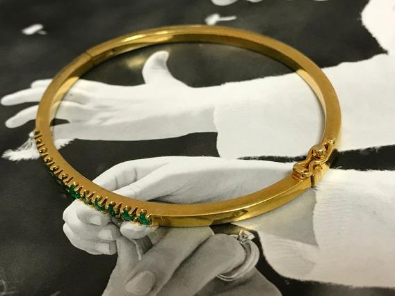 Pulseira Em Ouro 18k Com Lindas Pedras Verdes - Peso: 11.9 G