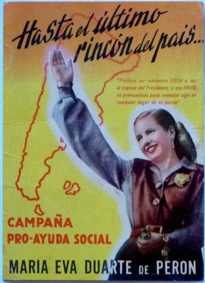 Tarjetón Eva Peron Campaña Pro Ayuda Social Circa 1951