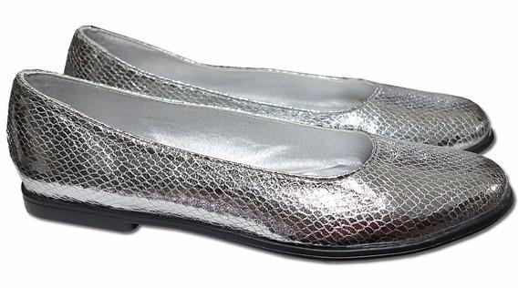 Zapatos Balerinas Chatitas En Dorado O Plateado Metalizado