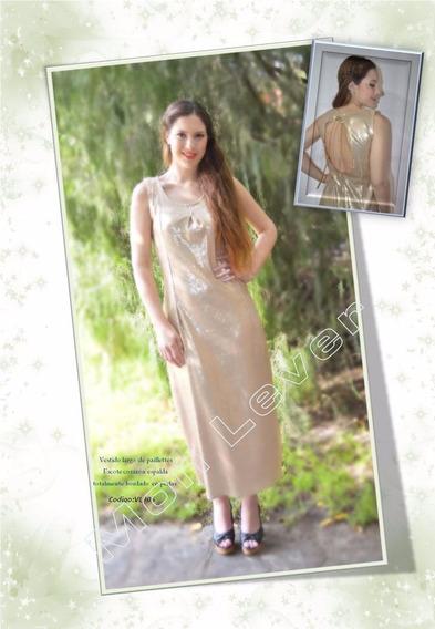 Vestido Largo De Pallete Con Espalda Escote Corazón