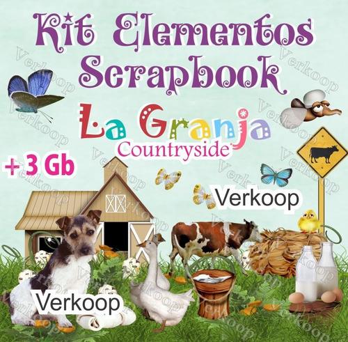 Kit Scrapbook Digital Granja Countryside Fondos Elementos