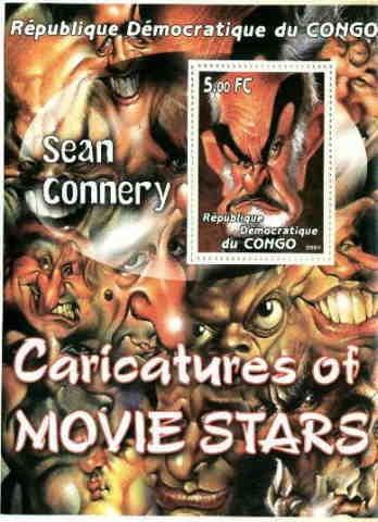 Caricatura De Sean Connery - Hoja Con Estampilla Del Congo