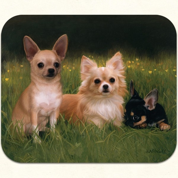 Mouse Pad Perro Chihuaha 23,5 X 20 Cms, Neopreno Y Textil