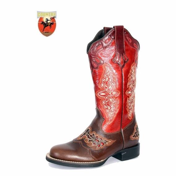 Bota Feminina Texana West Country - Caf/verm 13018