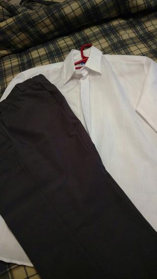 Conjunto Usado Camisa Blanca Y Pantalón Gris