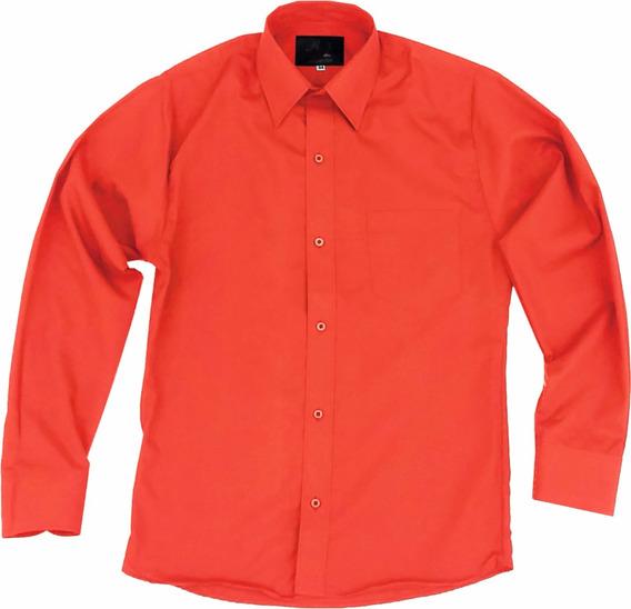Camisa De Vestir Para Adulto Naranja Talla Extras 44 A 50