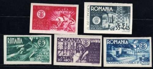 5 Estampillas Rumania Año 1945 Congreso Ingenieros Tren