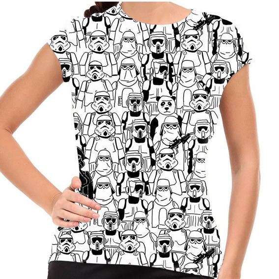 Camiseta Only Here Where Is Panda? Stormtrooper Baby Look