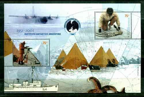 50º Aniversario Instituto Antártico. Hojita Block Mint B99