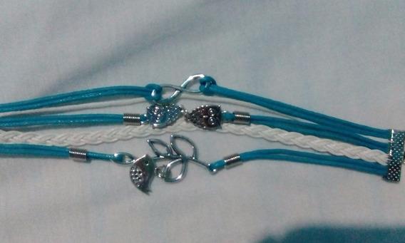 Remate Duo De Pulseras De Cuero Color Azul