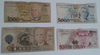 Dinheiro Antigo, Coleção, 4 Cédulas + 1 Moedas + Frete Pago.