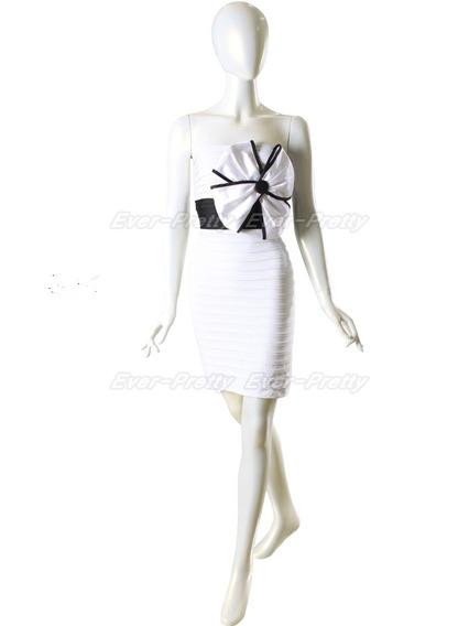 Vestido Mini Blanco Strapless De Poliester 2xl