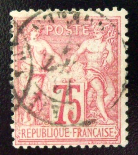 Francia, Sello Yv. 71 Paz & Comercio 75c Tipo I Usado L4681