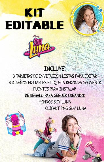 Kit Invitacion Editable Cumple Soy Luna