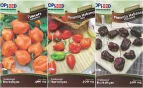 Kit 300 Sementes De 3 Pimenta Habanero Red Laranja Chocolate