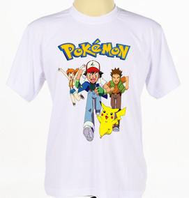 Camisas Camiseta Infantil Pokemon Ash Pikachu Anime Desenho