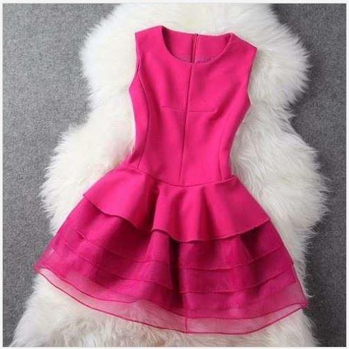 Mini Vestido Pink Organza Pronta Entrega Peça Única Promoção