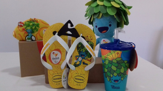 Kit Mascote Paralimpiada Tom Rio 2016 Original Copo Cofre