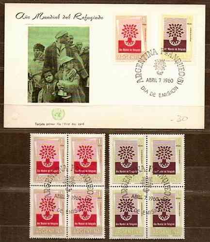 Año Del Refugiado. 4 Series 616/7 En Cuadritos + Tarjeta Color Primer Día De Emisión De 1960