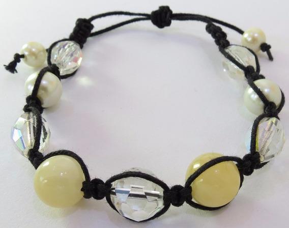 Pulseira Cordão Preto - Quartzo Branco, Cristais E Pérola