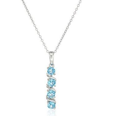 Colar Princesa Com Topázio Azul - Glam0055