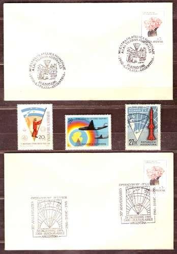 Antártida Argentina - 3 Sellos Mint + 2 Sobres Conmemorativos