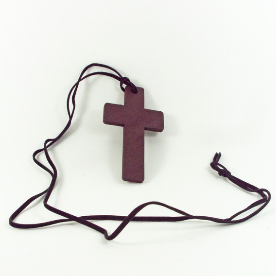 Cruz De Madeira Rústico Grande + Cordão De Couro Crucifixo