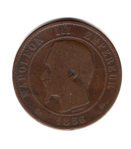 Moneda Francia 10 Centimes Año 1856 Bb Km#771.3