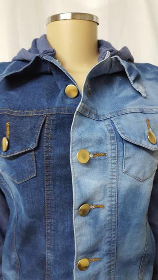 Jaqueta Jeans Feminina Mulher Azul Azul Claro Capuz Moletom