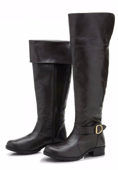 Bota Atron Shoes Over Knee Couro Legítimo 9113