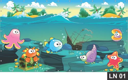 Imagem 1 de 6 de Fundo Do Mar Oceano Painel 2,50x2,00m Lona Festa Aniversário