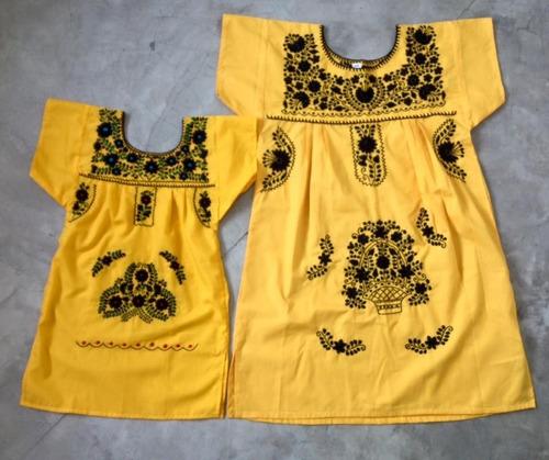 Vestido Mexicano Tal Mãe Tal Filha -curto T4 Bordado A Mão
