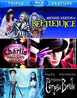 Blu-ray Beetlejuice + Corpse Bride + Charlie & The Chocolate