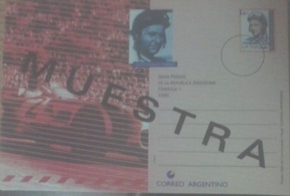 Argentina. Entero Postal Fangio Con Sobrecarga Muestra Raro