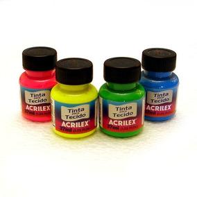 12x Tinta Para Tecido Fluorescent Neon Acrilex 37ml *escolha