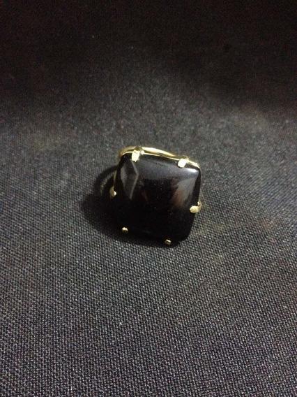 Anel Ajustável De Obsidiana Negra Extra Banho De Ouro Oferta