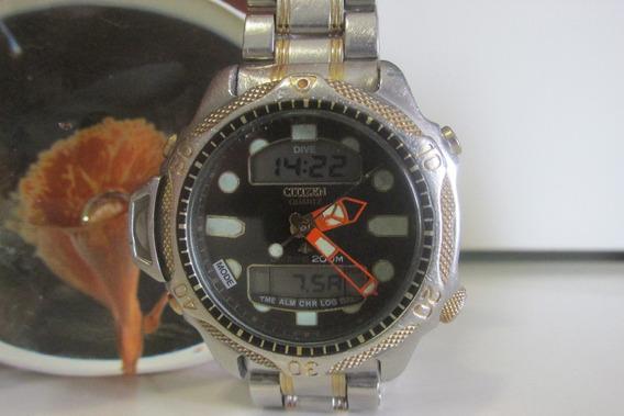 Relógio Citizen Aqualand Duplex C500 Série Ouro Todo Aço!