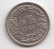 Suiza Moneda De 1/2 Franco Año 1968 !!!
