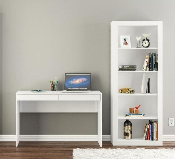 Conjunto Com Mesa P/ Computador E Estante Arquivo Branco Lv