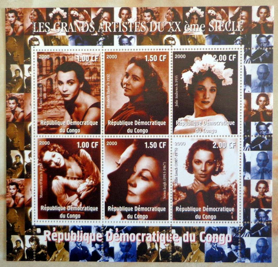 Congo Actrices, Bloque 6 Sellos Siglo Xx 2000 Mint L7520
