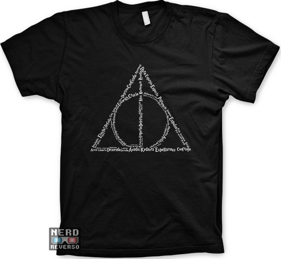 Camisetas Harry Potter Deathly Hallows Feitiços Magias Geeks