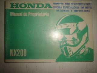 Manual Moto Honda Nx 200 1997 1998 1999 Original Nx200 Cross