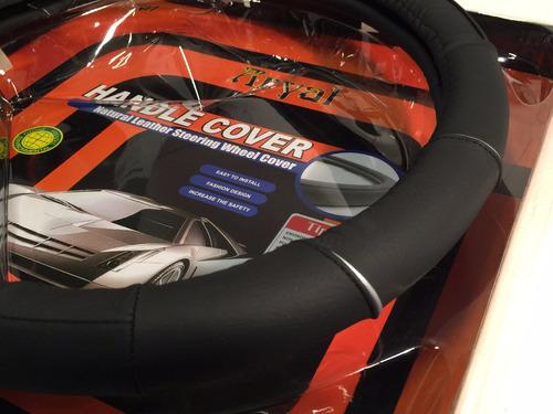 Cubre Volante P/ Auto Cuero Natural Negro Calidadx36cm Mod13