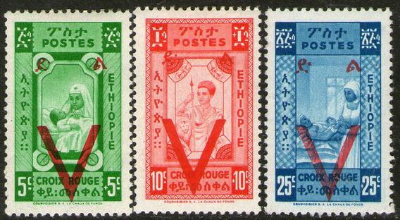 Etiopía Serie No Completa X 3 Sellos Nuevos Cruz Roja 1945